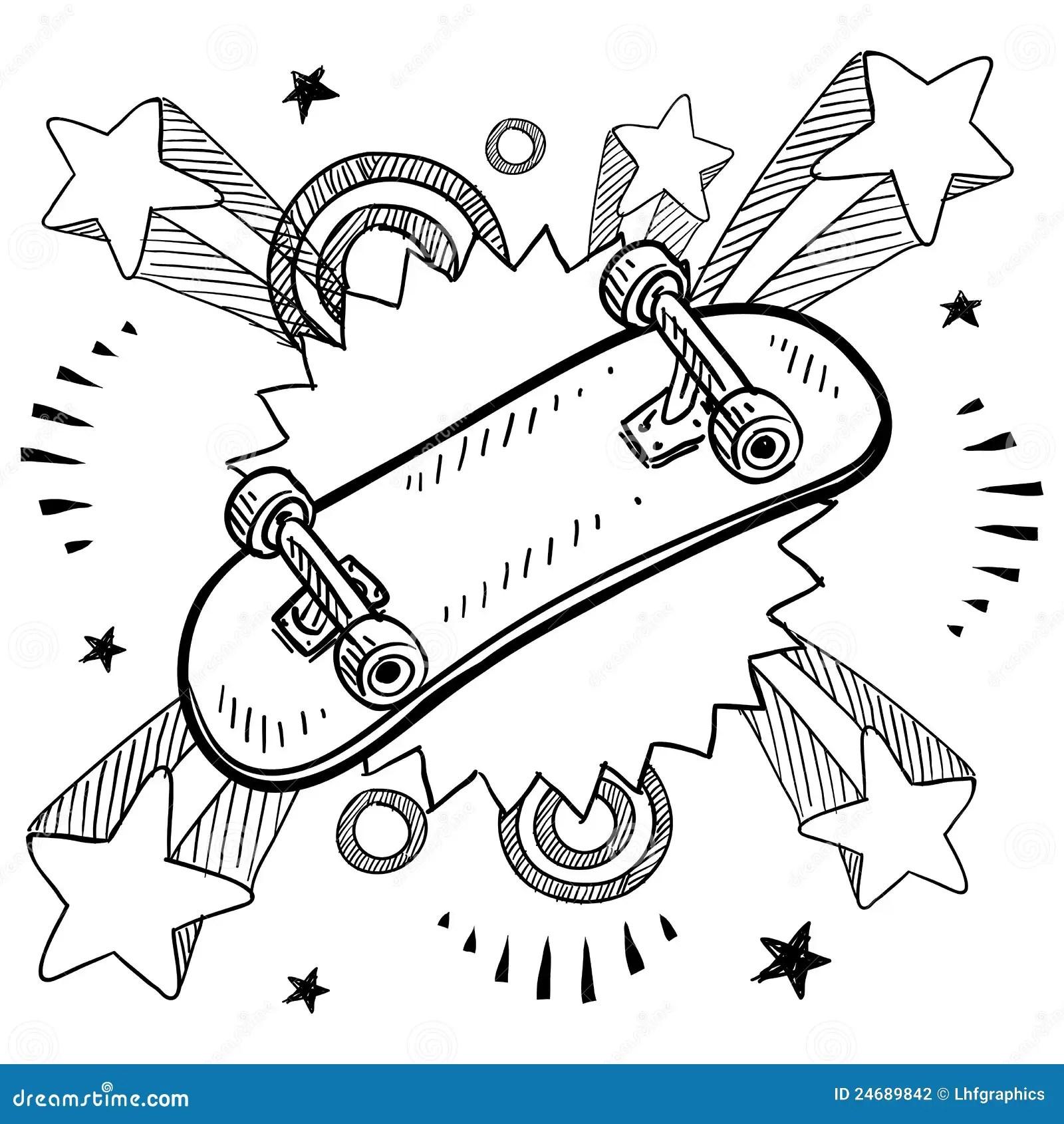 Skateboard Sketch Stock Vector Illustration Of Safety
