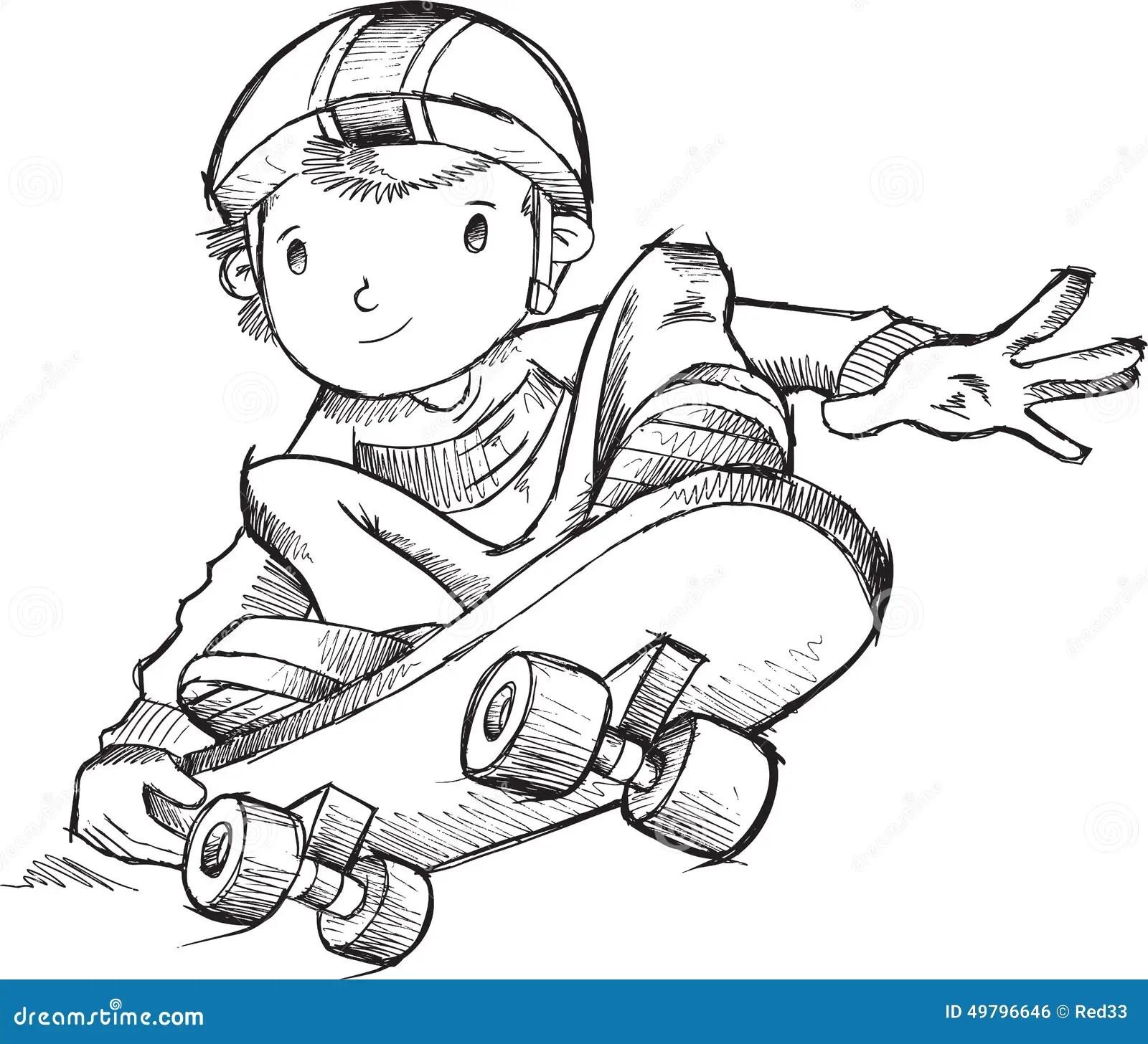 Skateboarder Doodle Vector Stock Vector Image Of Children