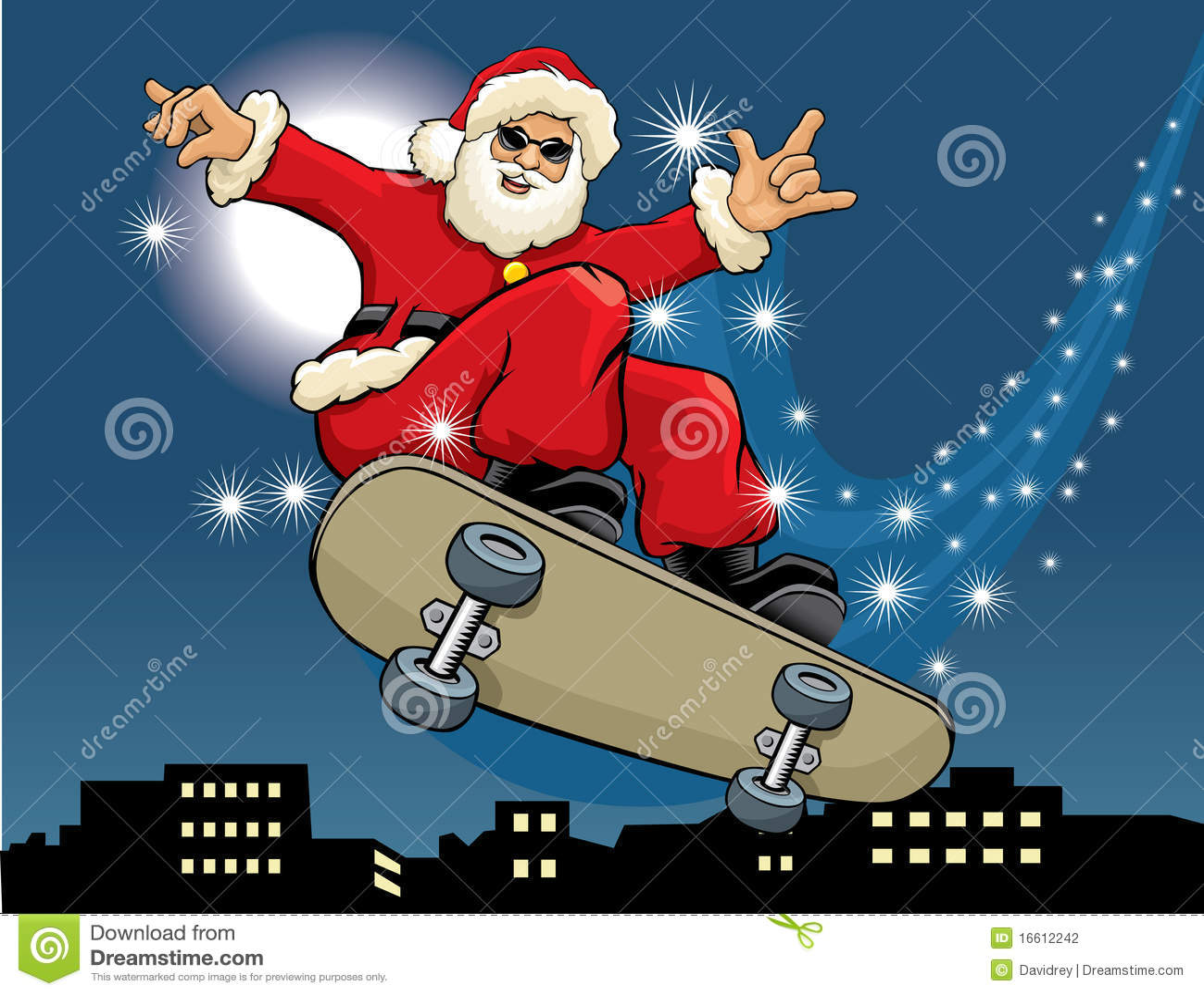 Skateboarding De Papai Noel Ilustrao Do Vetor Imagem