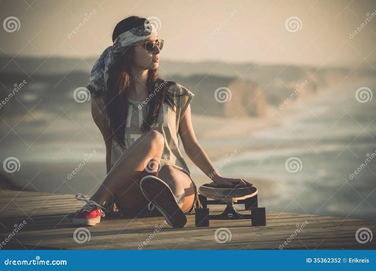 Longboard Girl Wallpaper Skater Girl Stock Photo Image Of Latin Funky Copyspace