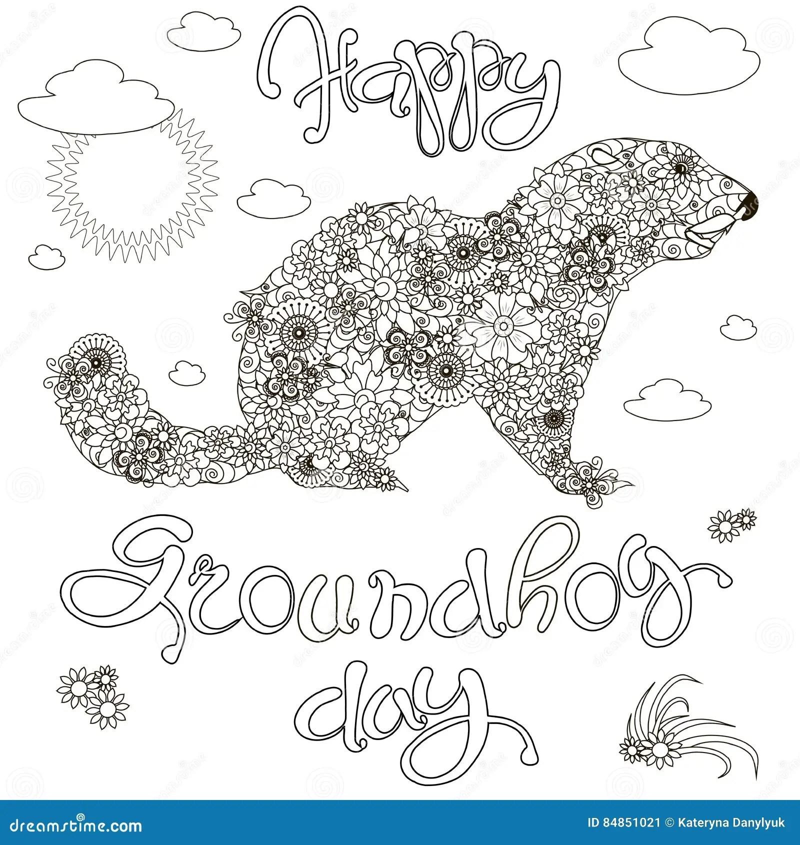 Sketch Of Banner Happy Groundhog Day Floral Groundhog
