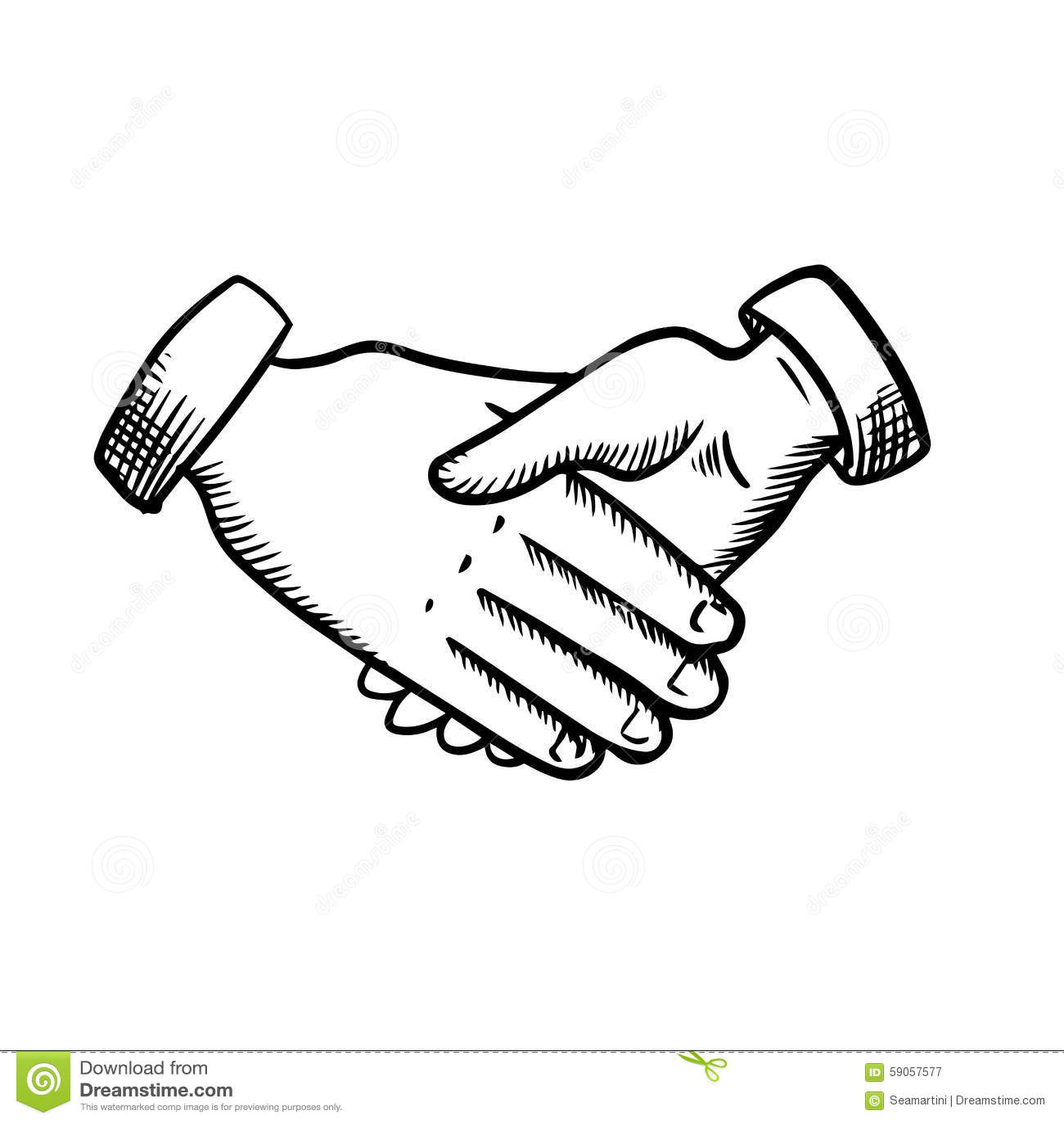Sketch Of Business Partnership Handshake Stock Vector