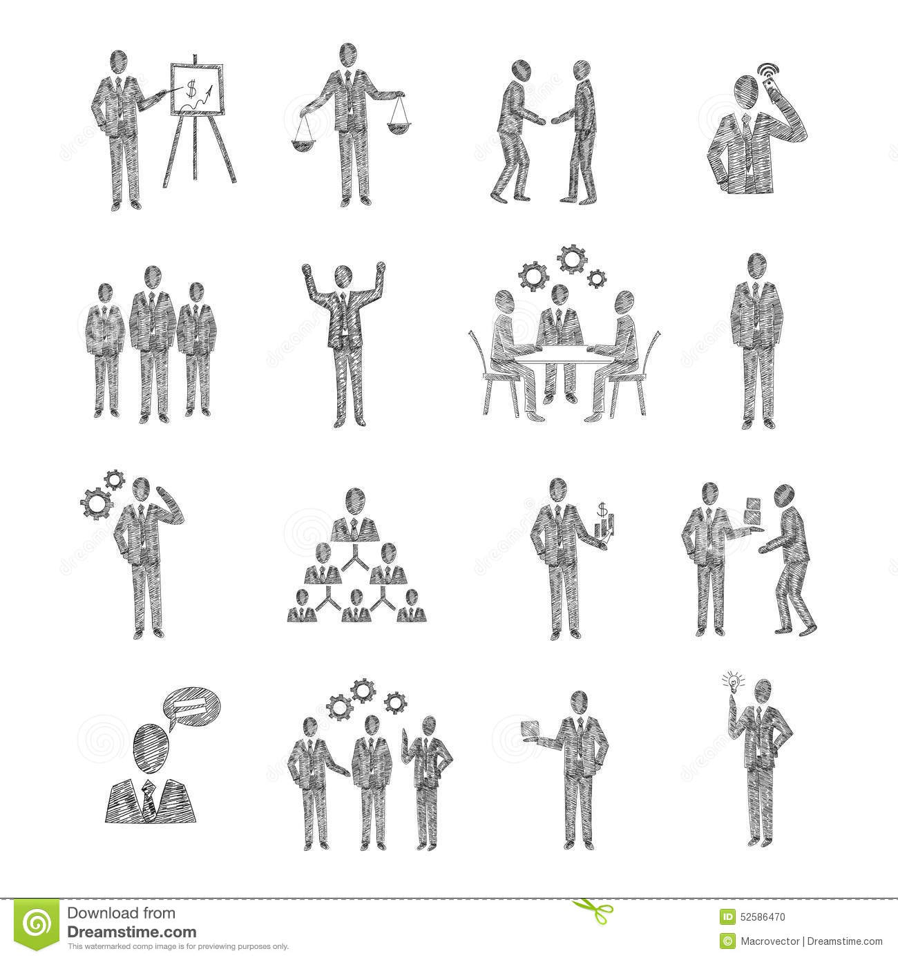 Sketch Business People Stock Vector