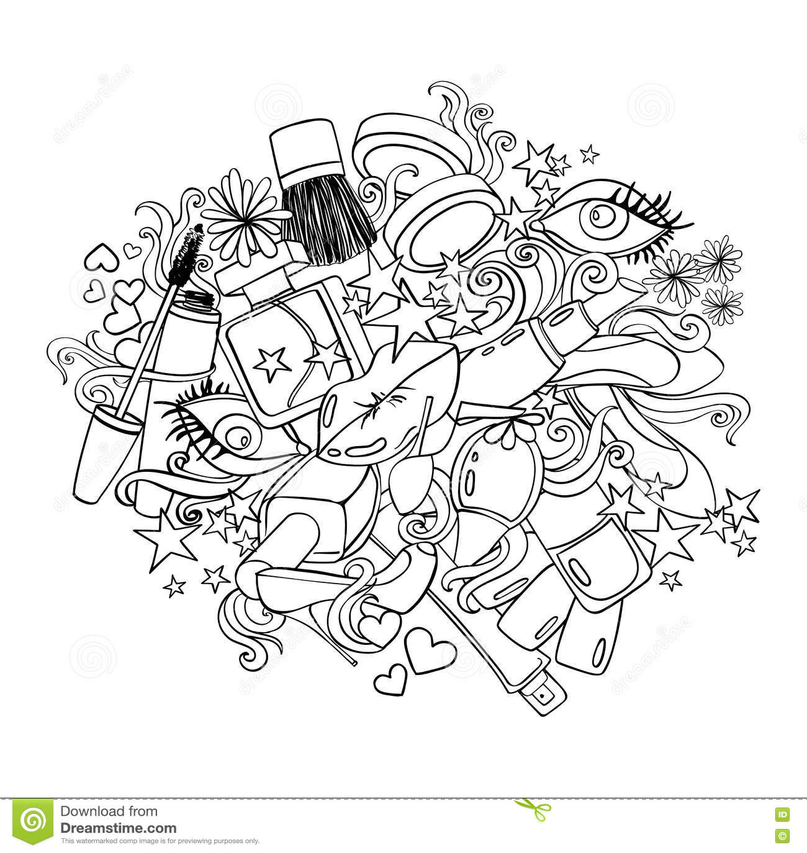 Sketch Cartoon Illustration With Decorative Cosmetics