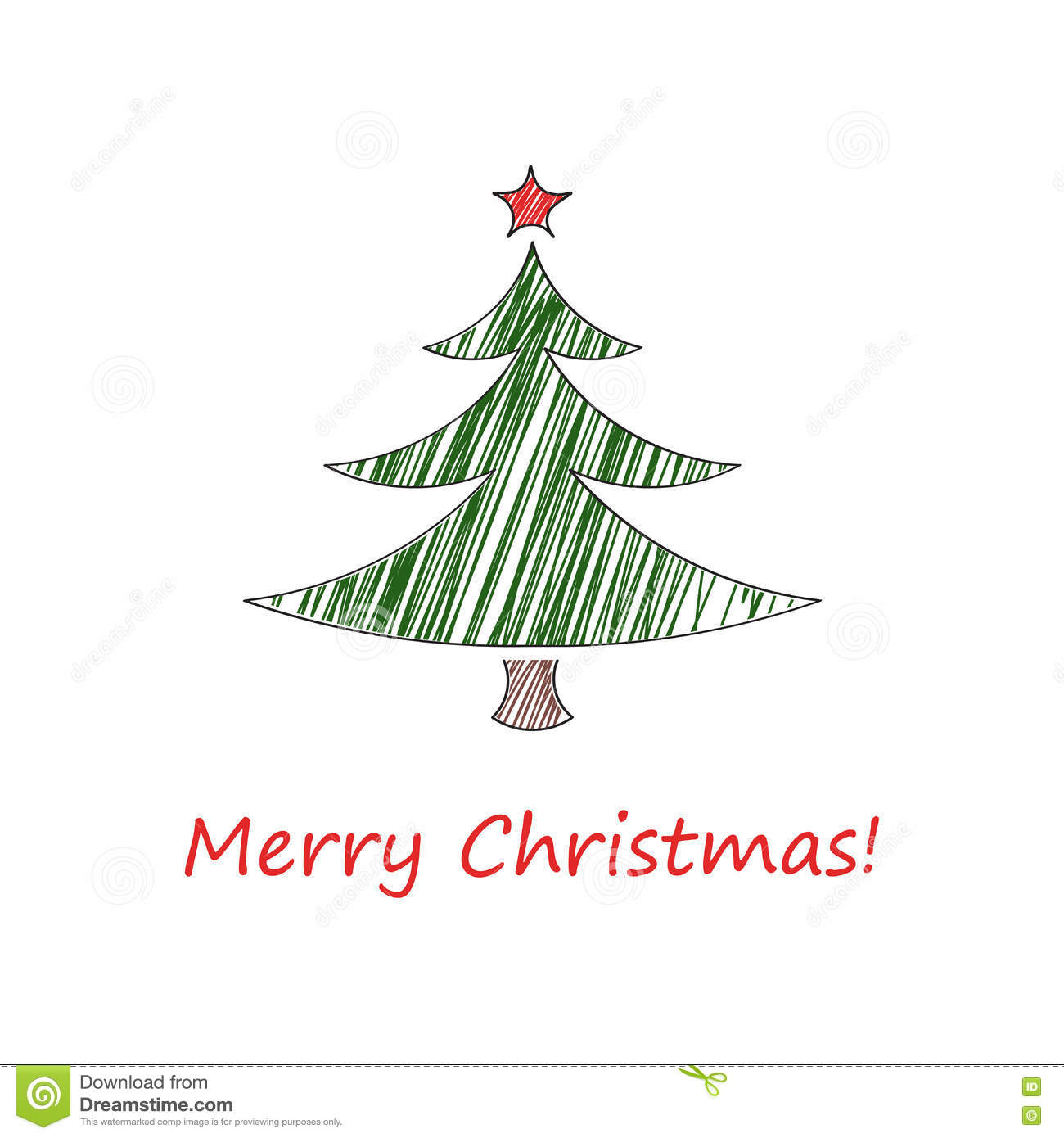 hight resolution of fir tree with a red star and with the inscription merry christmas vector illustration