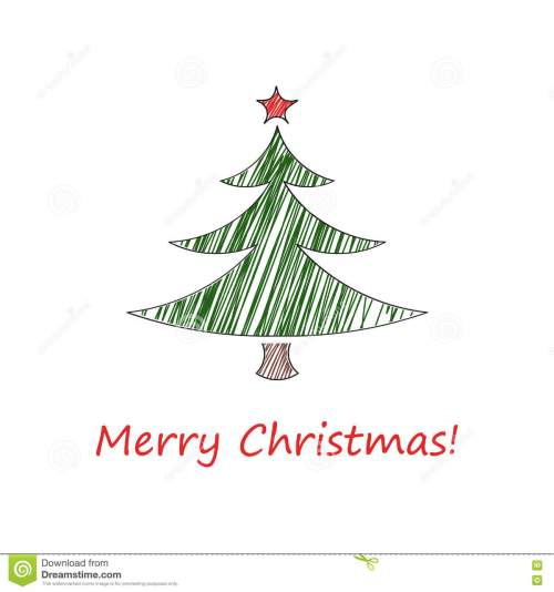 small resolution of fir tree with a red star and with the inscription merry christmas vector illustration