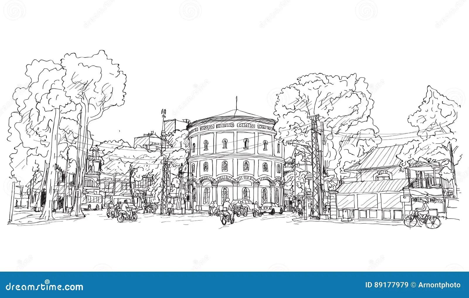 Sketch Of Cityscape Vietnam Hang Dau Water Tank In Hanoi