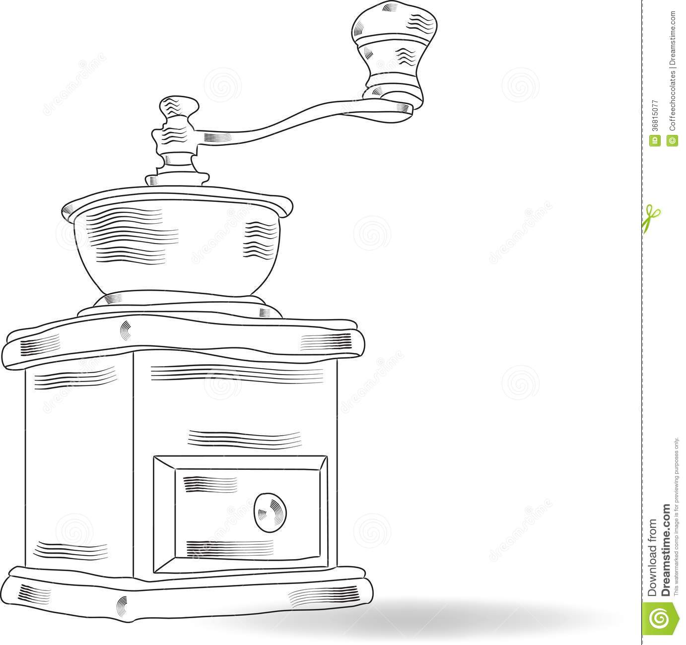 Sketch Coffee Grinder Royalty Free Stock Photography