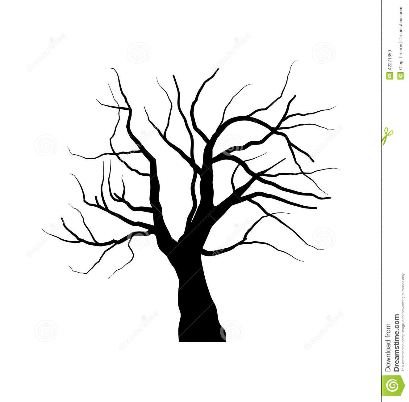 Sketch Of Dead Tree Without Leaves Isolated On White