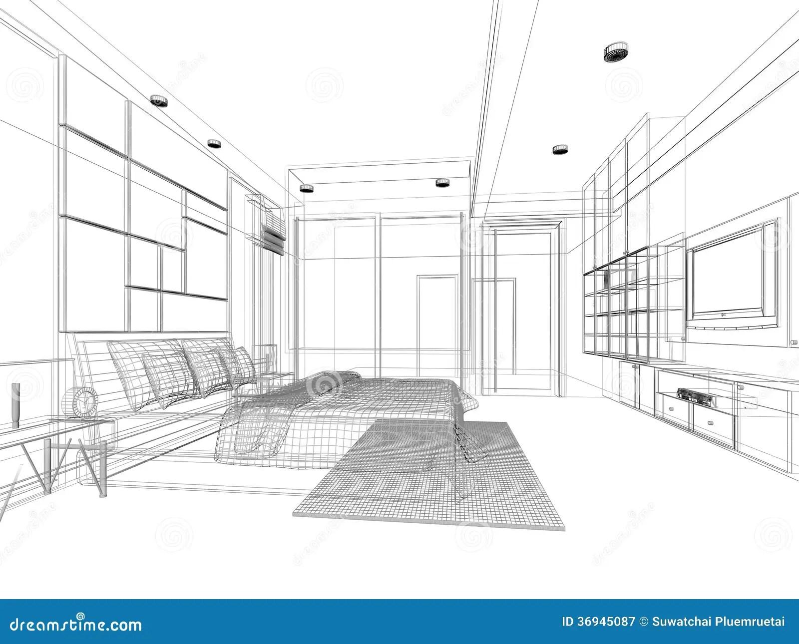 Sketch design of bedroom stock illustration. Illustration