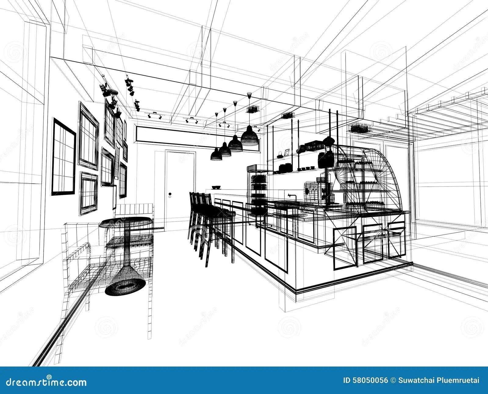 Sketch Design Of Coffee Shop Stock Illustration