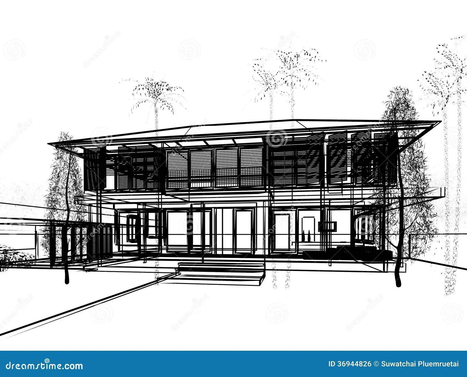 Sketch design of house stock illustration. Image of house
