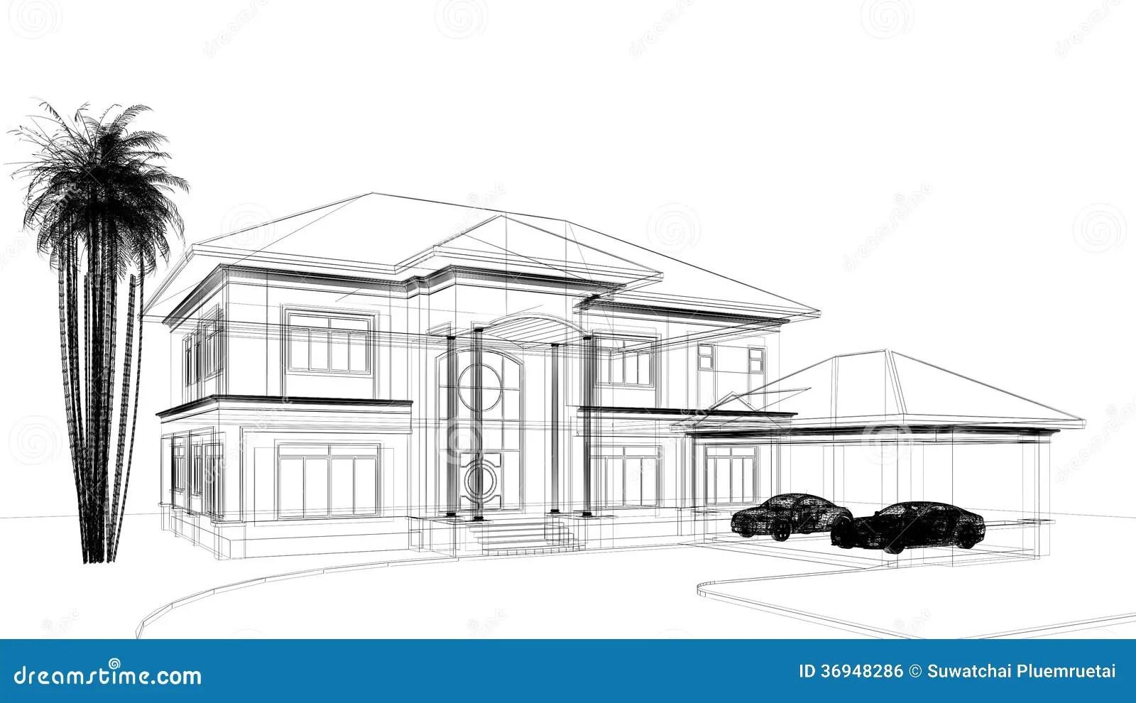 Sketch design of house stock illustration. Image of sketch