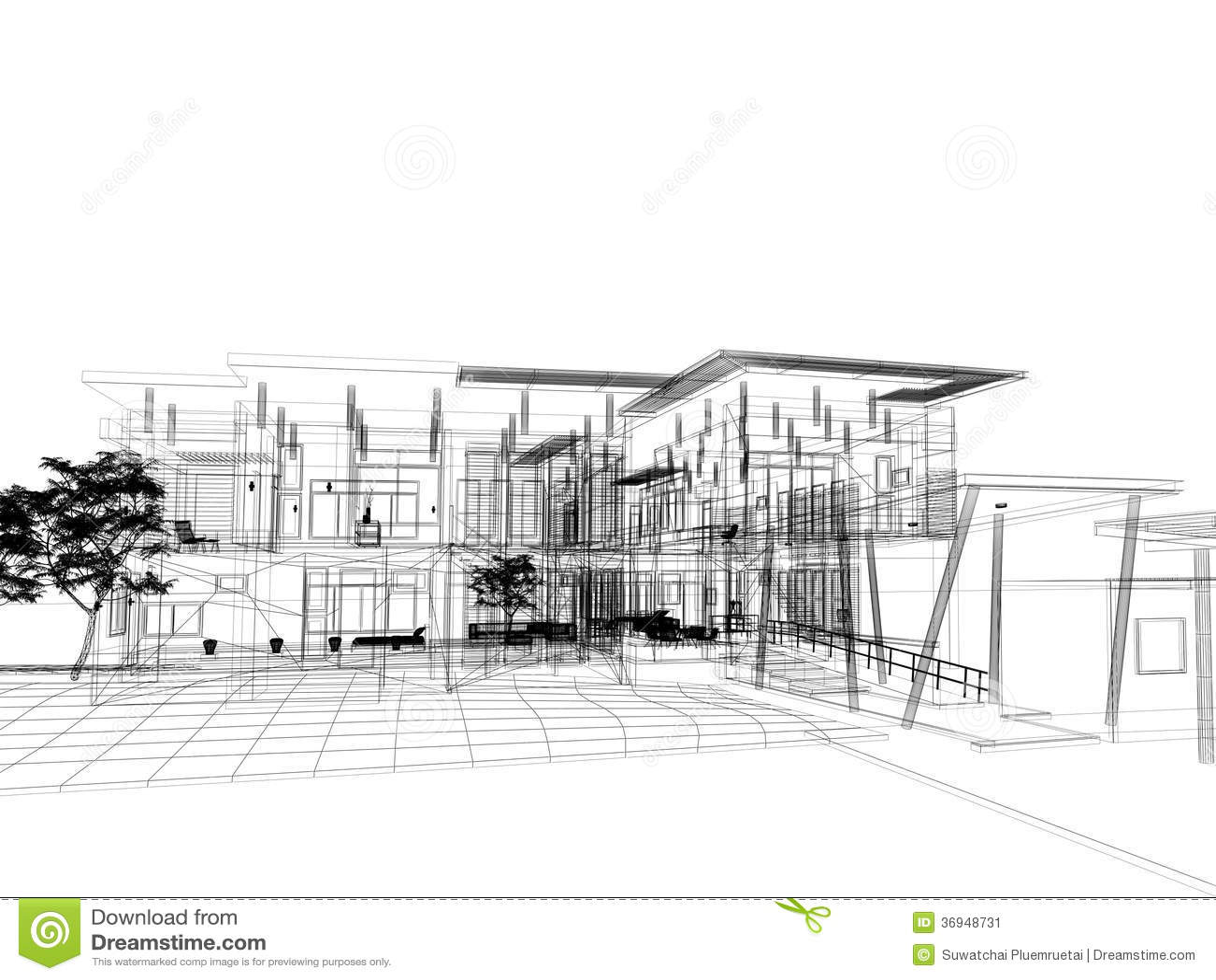 Sketch design of house stock illustration. Image of