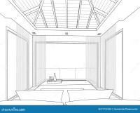 Sketch Design Of Interior Bedroom - Vector Illustr Stock ...