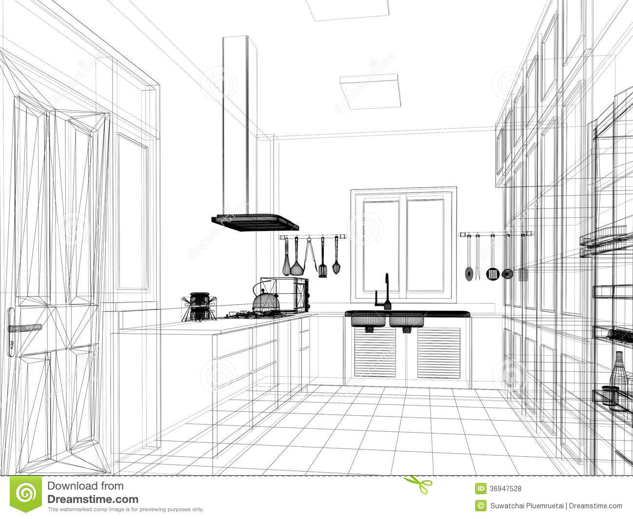 Sketch Design Of Interior Kitchen Stock Illustration