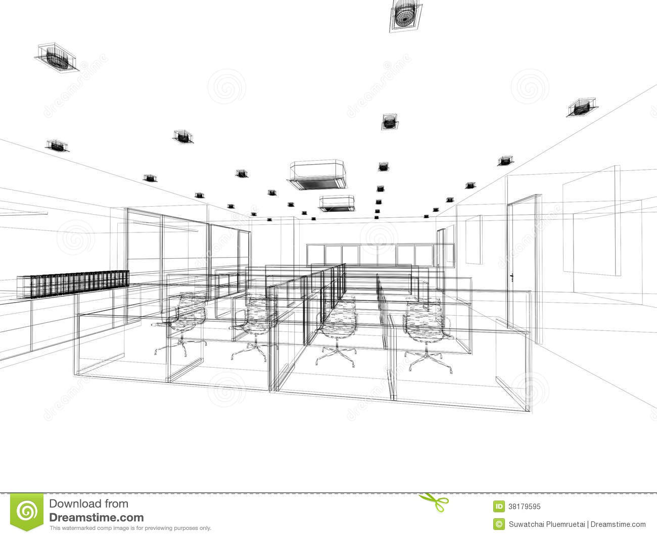 Sketch Design Of Interior Office Stock Illustration