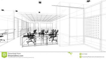 Sketch Design Of Interior Office Stock Illustration ...