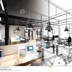 Office Chair Illustration Dining Room Chairs Covers Sketch Design Of Interior Stock - Room, Furniture: 73943371