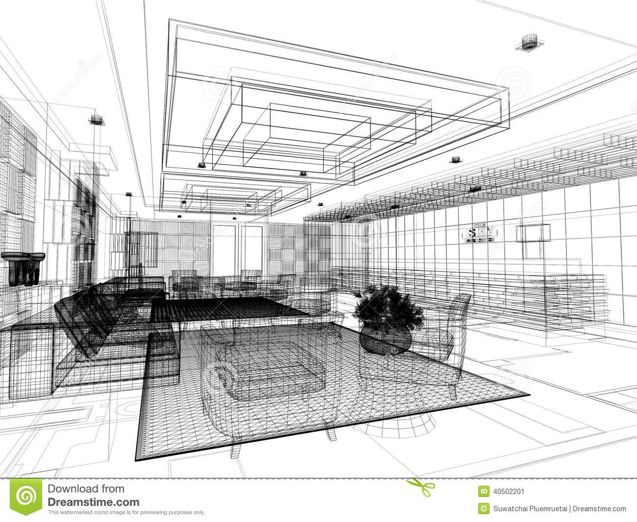 Sketch Design Of Lobby ,3d Wire Frame Stock Illustration