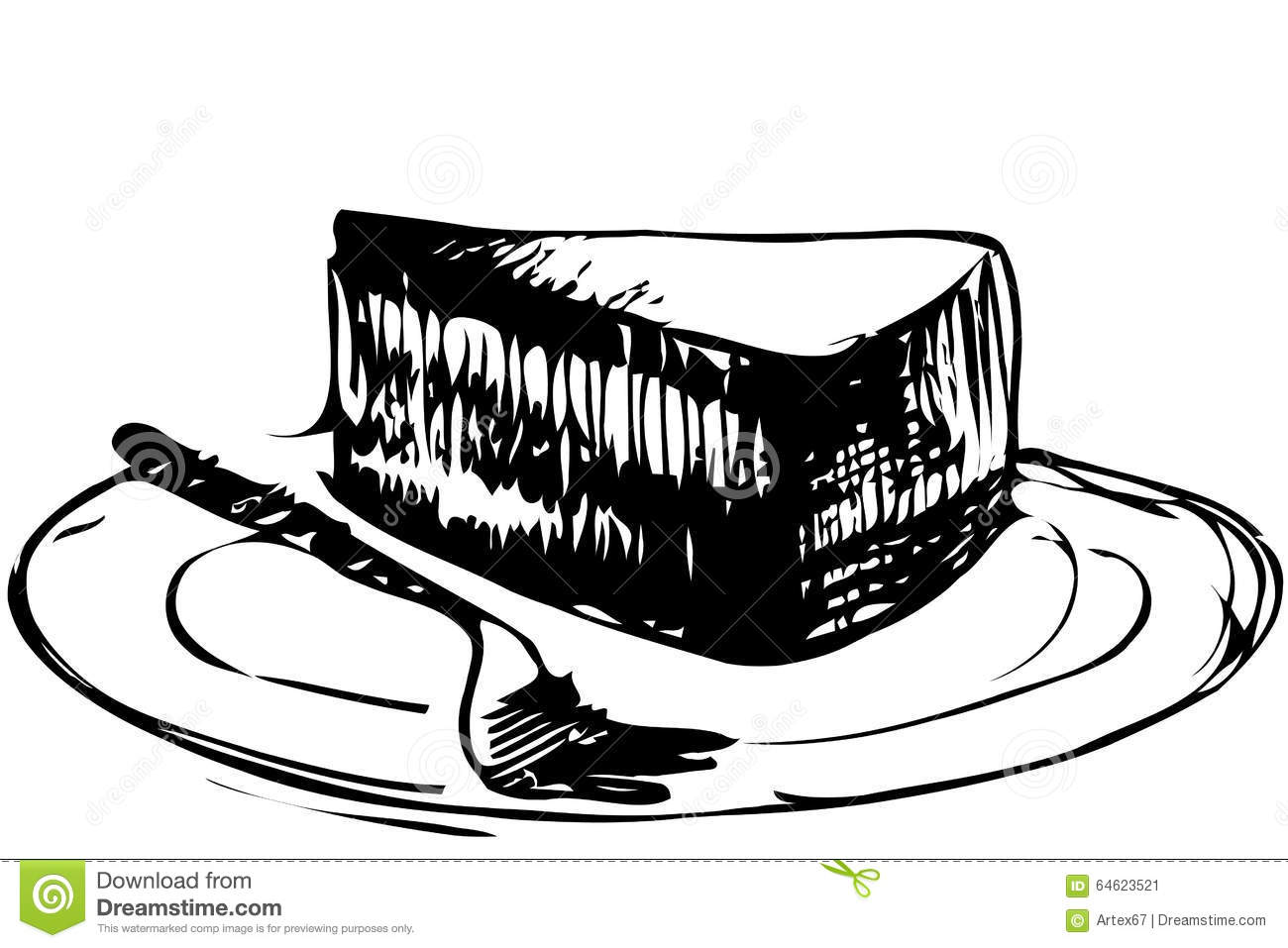 Sketch Dessert Piece Of Cake On A Plate Stock Vector
