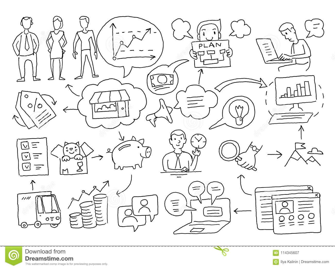 hight resolution of business plan presentation freehand drawing marketing and planning of sales on internet advancement promotion hand drawn black line vector stock clipart