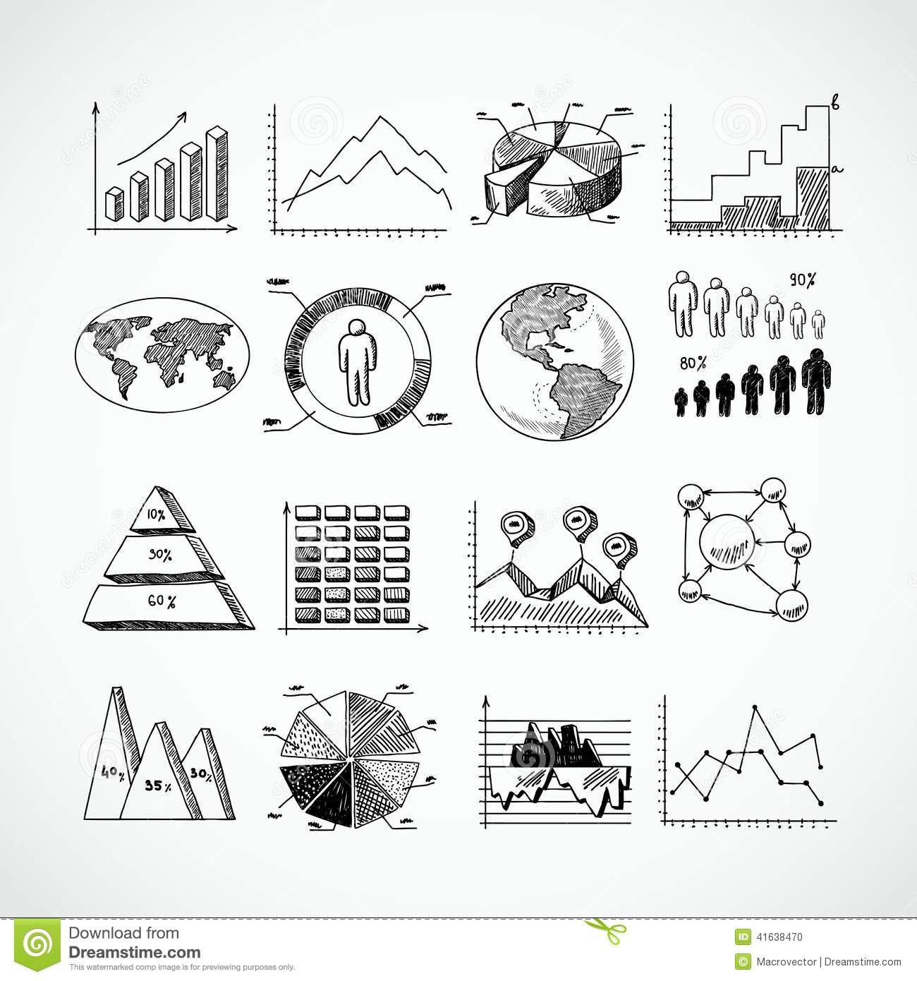 Sketch diagrams set stock vector. Illustration of business