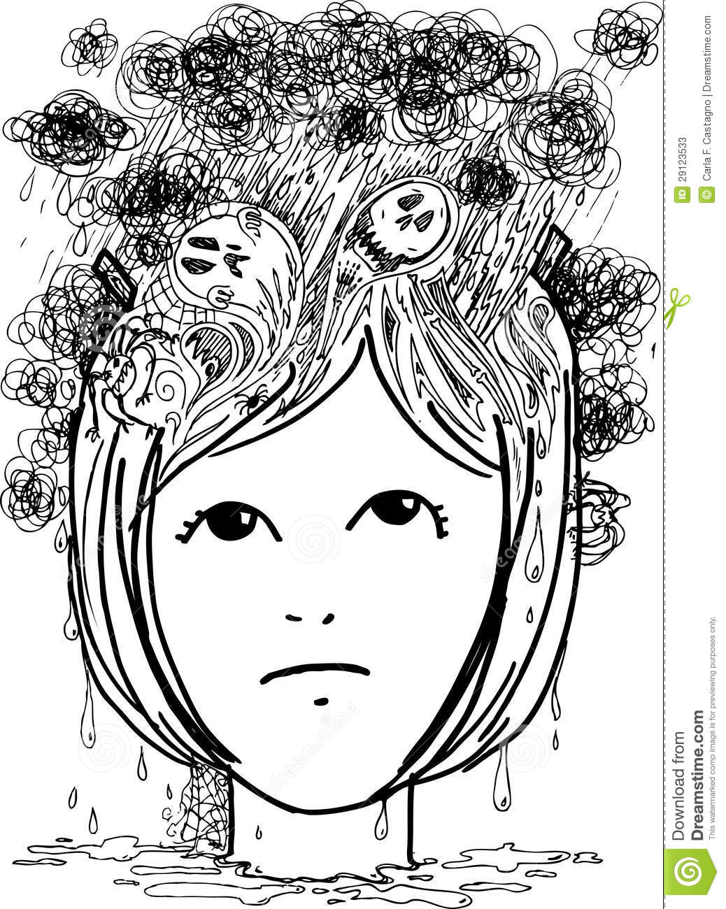Sketch Doodles Stress And Depression Vector Stock Photos