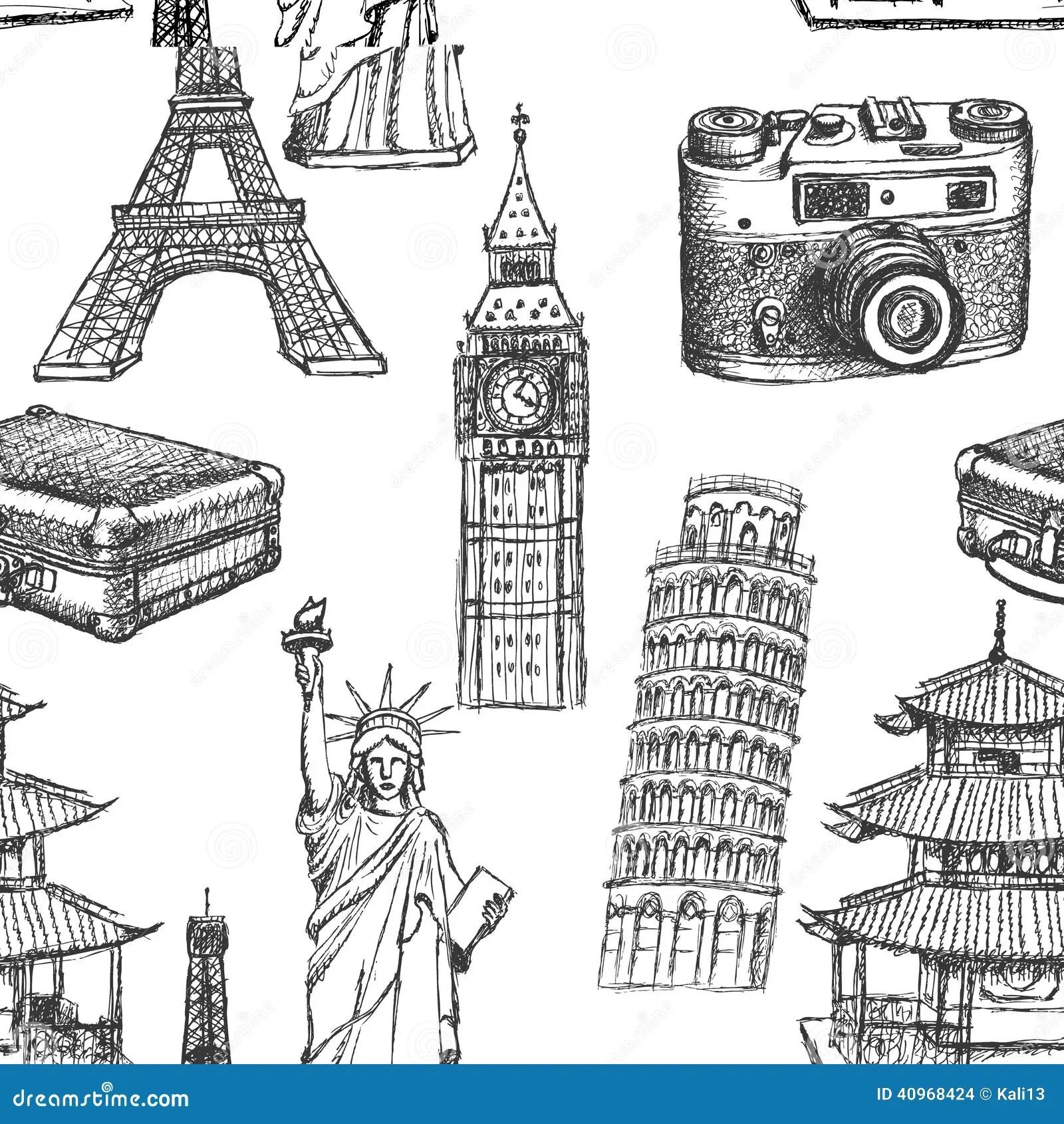 Sketch Eiffel Tower Pisa Tower Big Ben Suitecase
