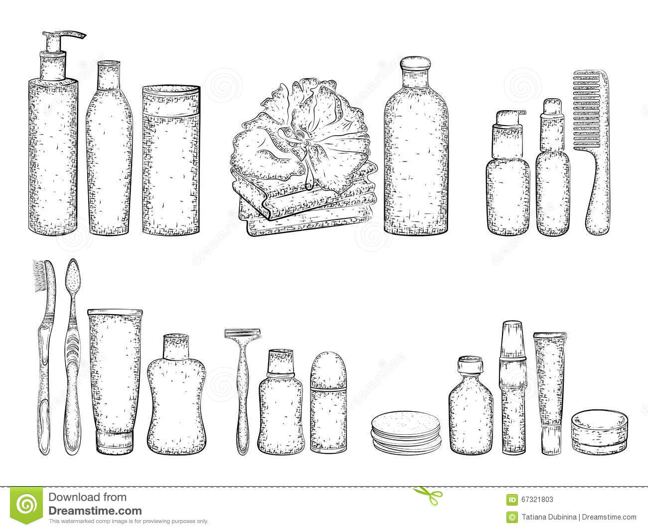 Sketch Of Elements For Bath Stock Vector Image 67321803