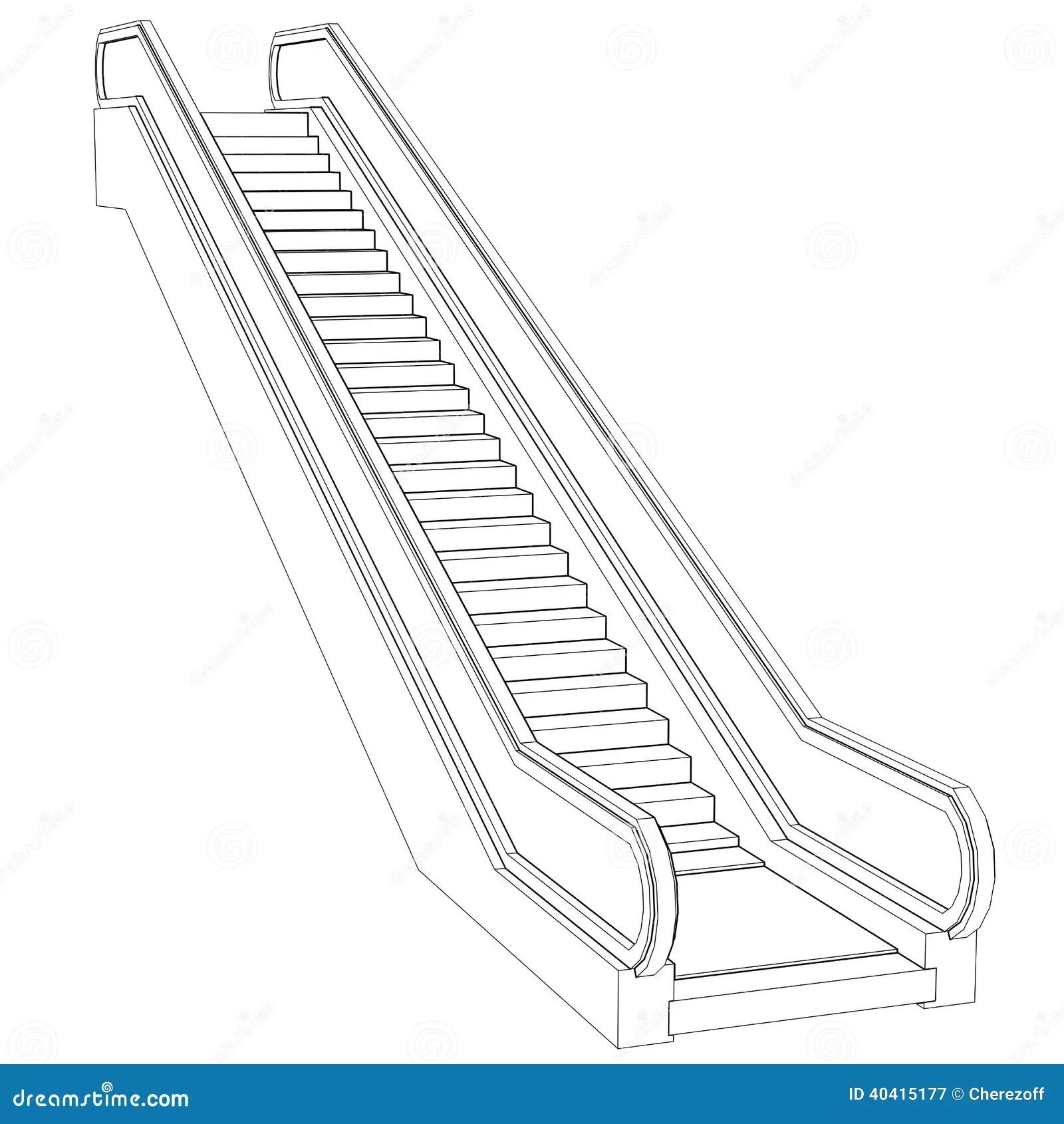 Sketch Escalator. Wire Frame Render Stock Illustration