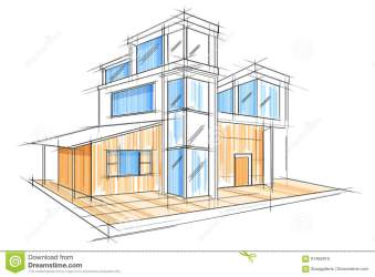 exterior sketch blueprint building draft drawing vector easy office perspective illustration preview