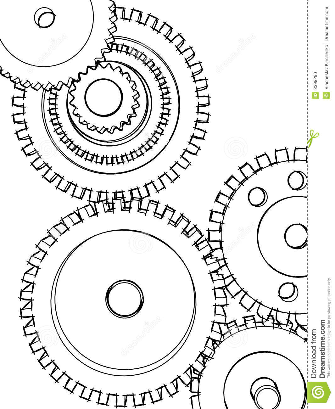 Sketch Gears Stock Photo