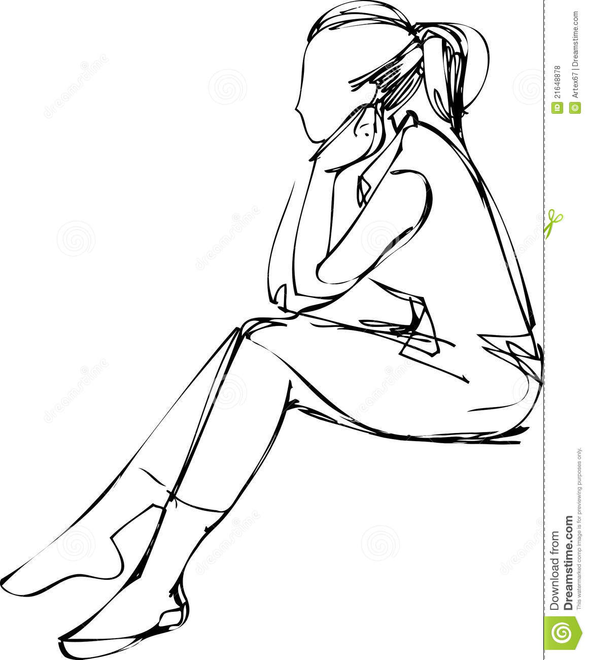 Sketch Of A Girl Who Thought Sitting Royalty Free Stock