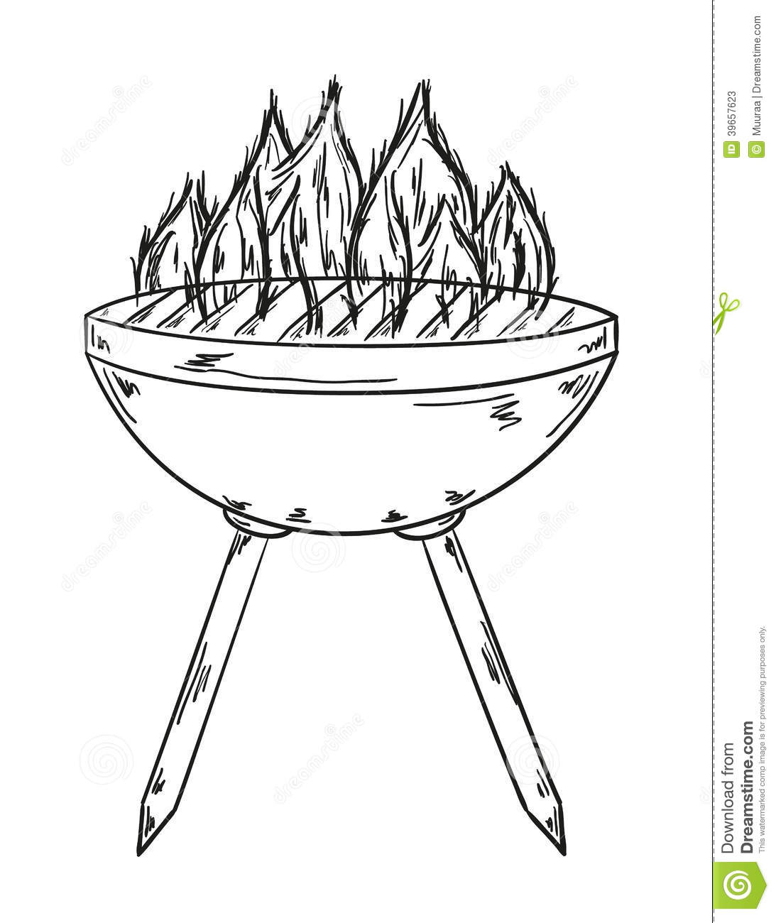 Sketch Of The Grill With Big Flames Stock Vector