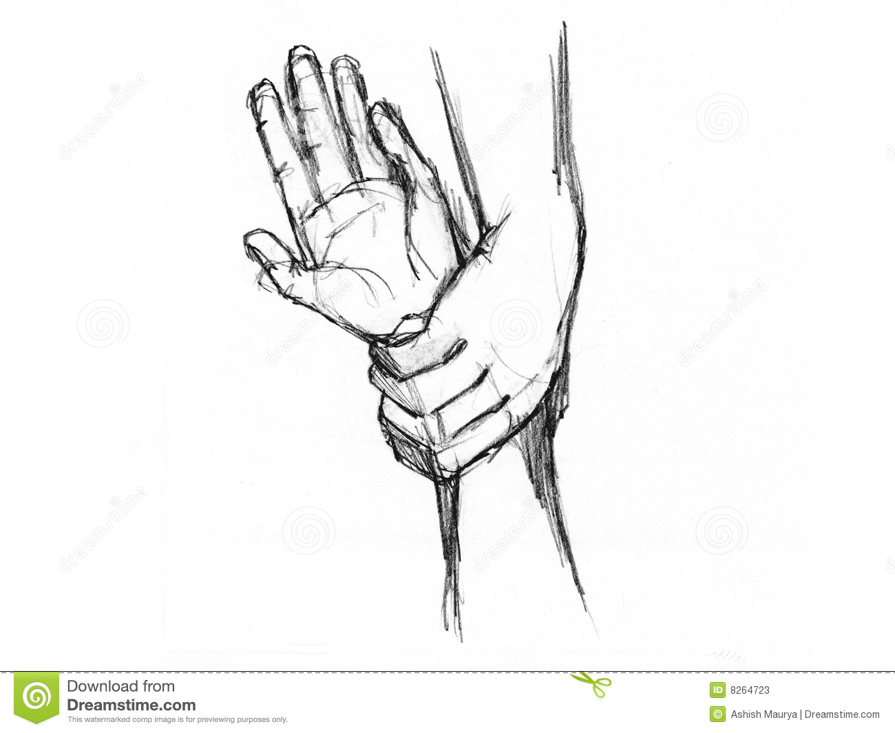 Sketch of hands stock illustration. Illustration of five