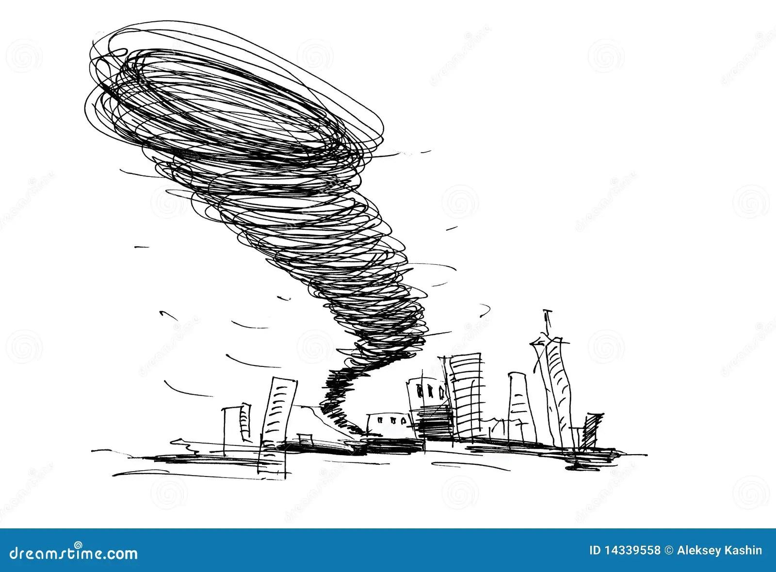 Sketch of the hurricane stock illustration. Illustration