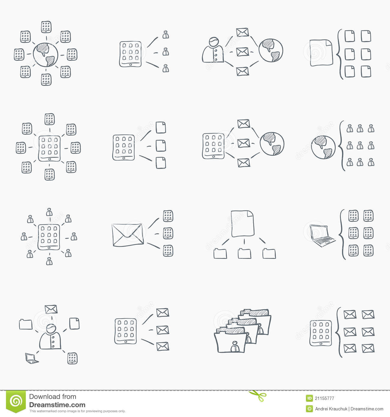 Sketch Icon Set stock vector. Illustration of graph