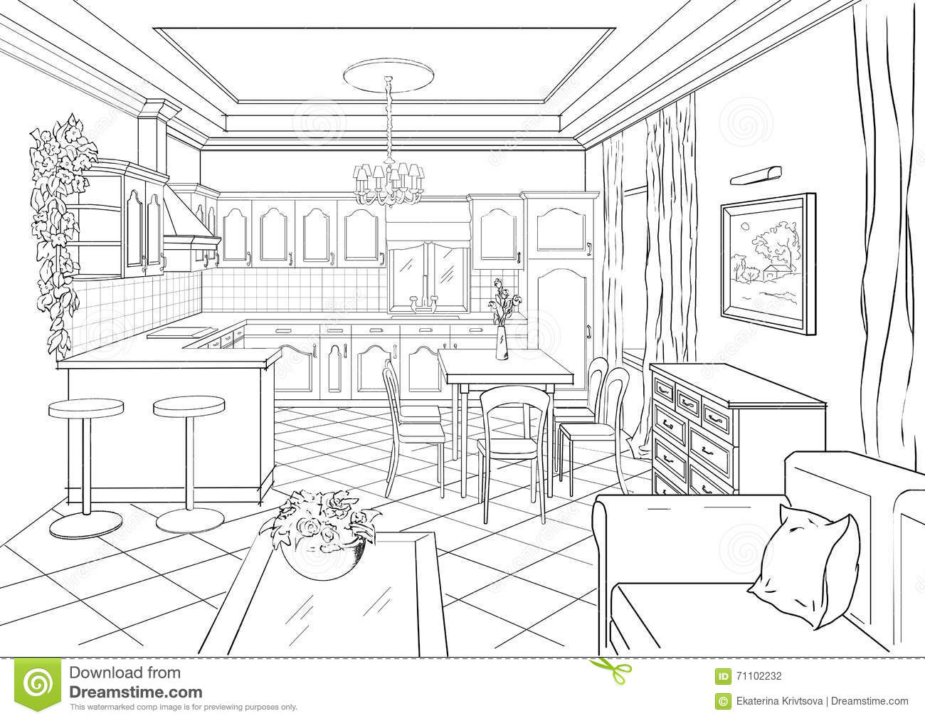 Sketch Interior In Classic Style. Stock Illustration