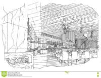 Sketch Interior Perspective All Day & Restaurant, Black ...