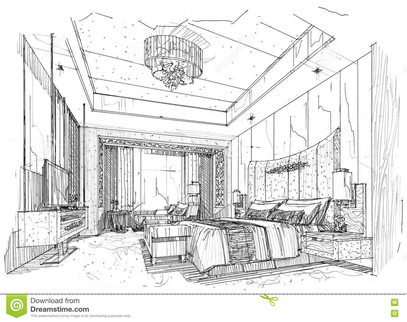 Sketch Interior Perspective Bedroom Black And White