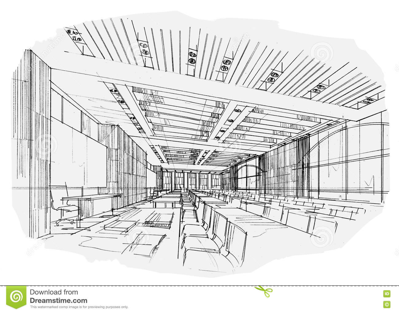 Sketch Interior Perspective Classroom Black And White