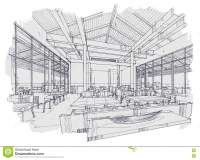Sketch Interior Perspective Restaurant , Black And White ...