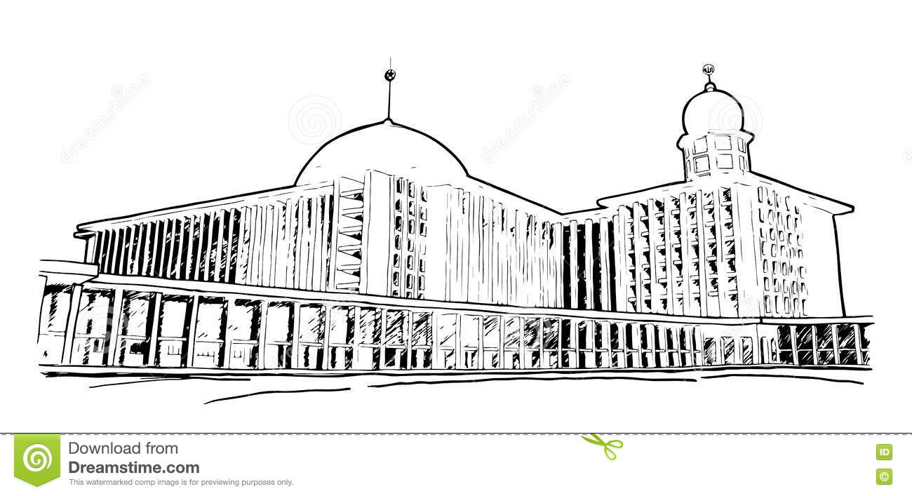 A Sketch Of Istiqlal Mosque In Jakarta, Indonesia Stock