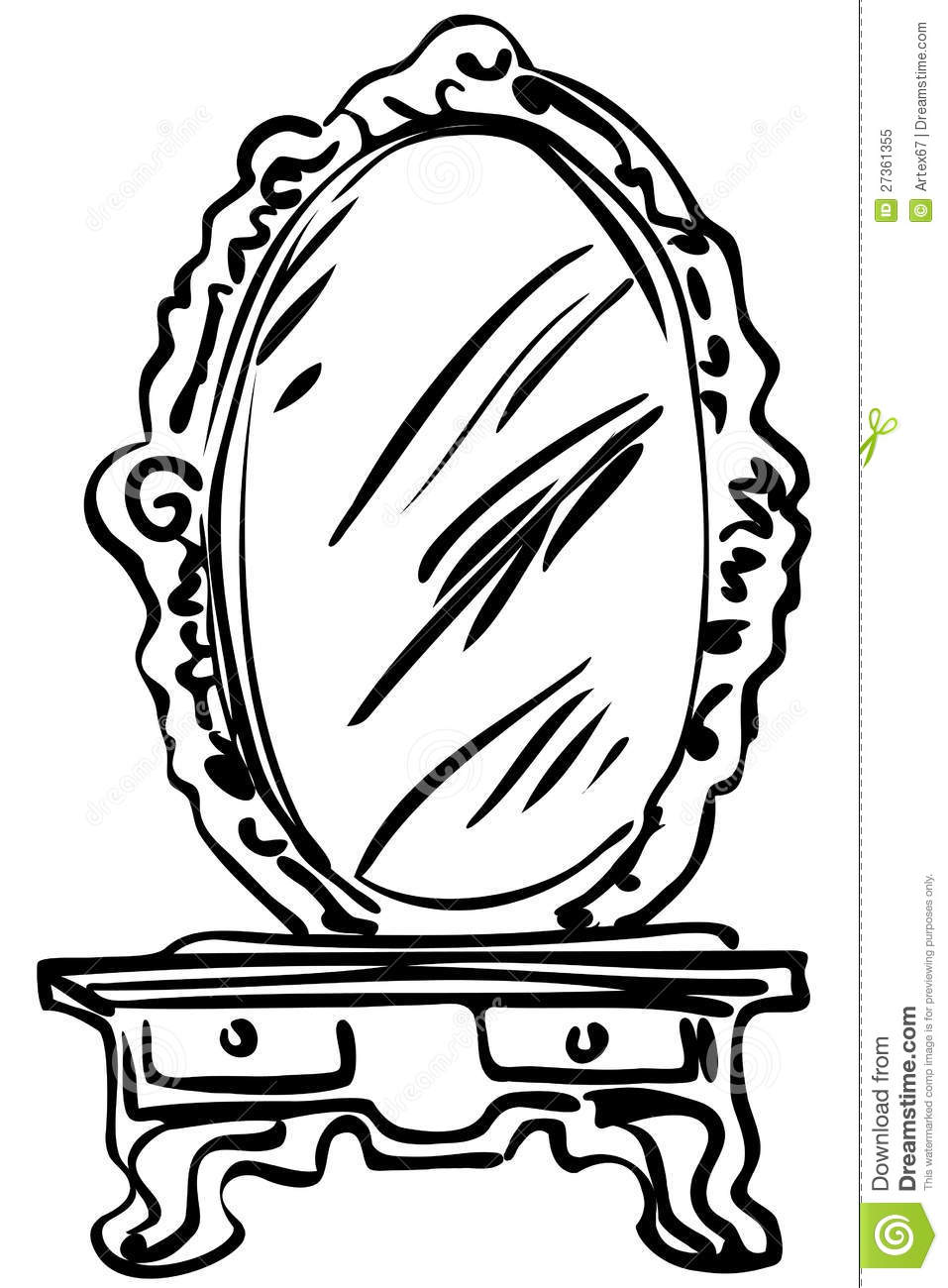 Sketch Of Large Mirror On A Dressing-table Royalty Free