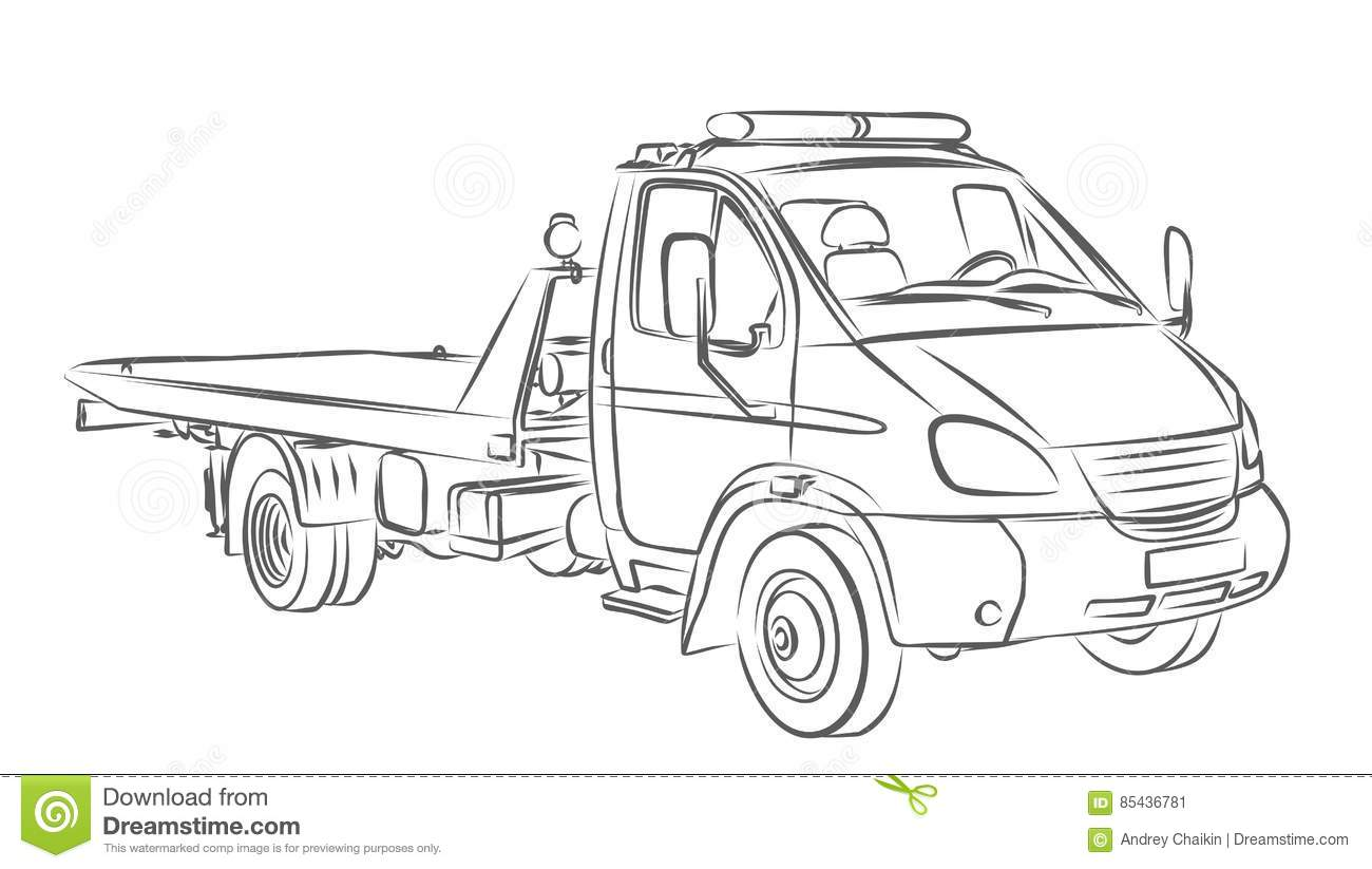Sketch Large Tow Truck Stock Vector Illustration Of