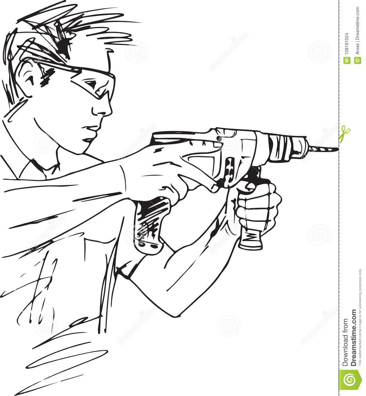 Sketch Of Manual Worker With Electric Drill Stock Vector