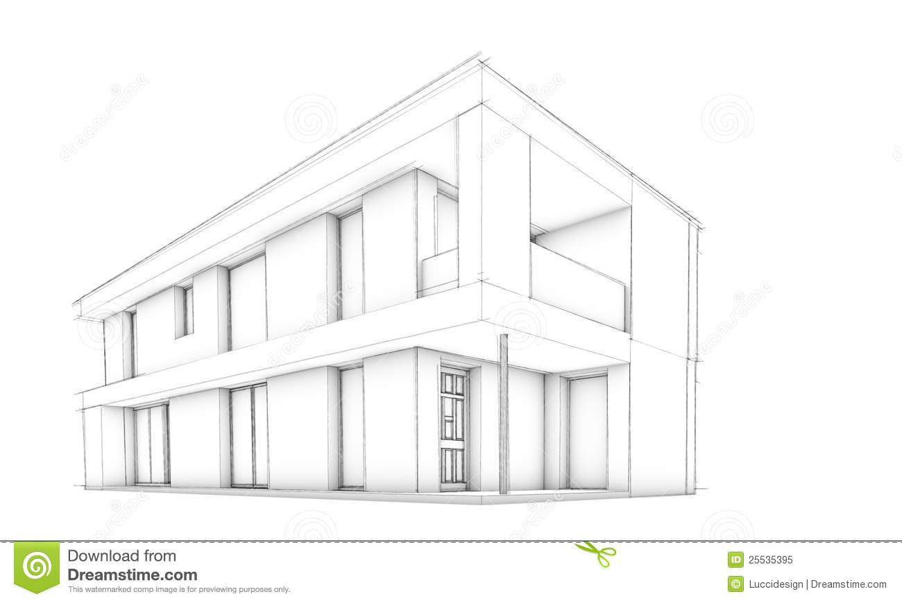 Sketch Of Modern House Only House Stock Illustration