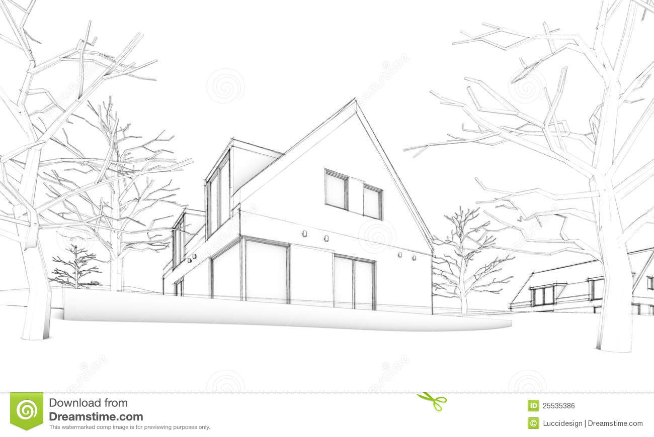 Sketch Of Modern House On Hill
