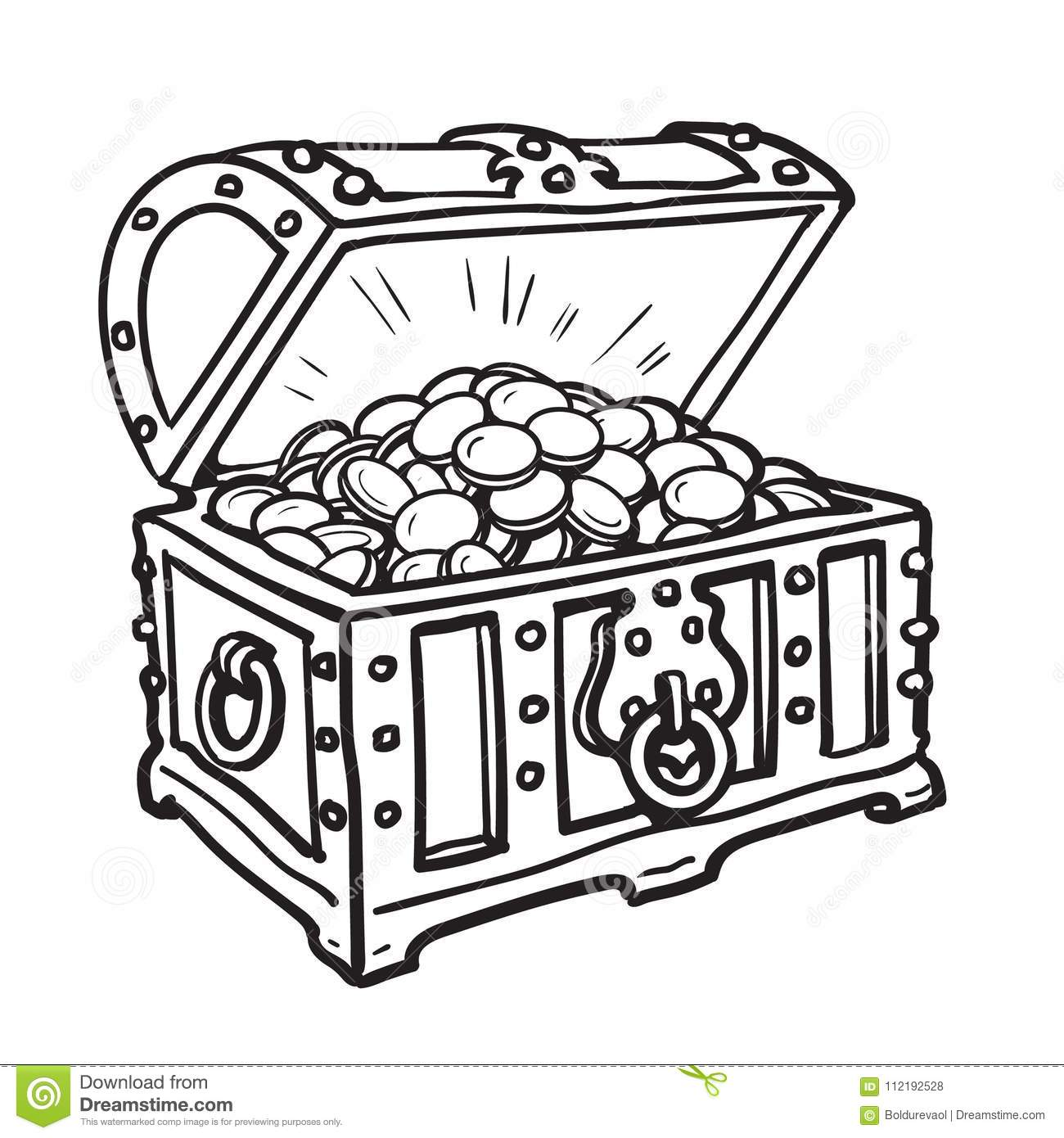 Old chest with gold coins stock vector. Illustration of